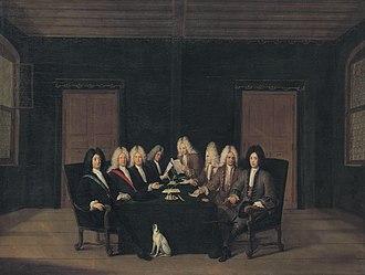 Treaty of Baden (1714) - The emissaries of the peace congress of Baden on 7 September 1714; Marshall Villars on the far left, Prince Eugene on the far right. Johann Rudolf Huber, oil on canvas, 1714