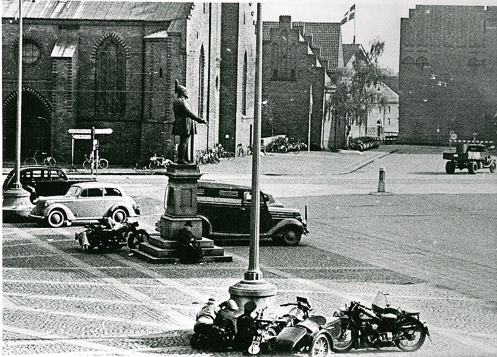 Members of the resistance movement in fight with German soldiers Flakhaven in Odense 5th of May 1945