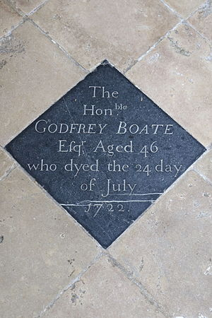 Godfrey Boate - Memorial to Godfrey Boate in All Saints' Church, Hillesden, Buckinghamshire