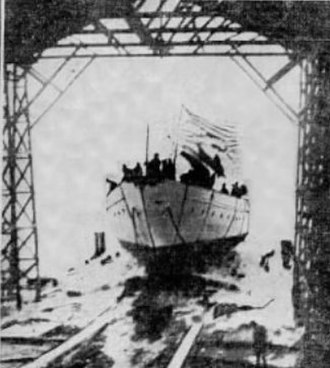 Meteor III - Meteor III yacht leaving the slip way after christening by Miss Roosevelt