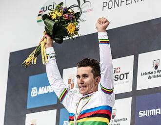 2015 Amstel Gold Race - Michał Kwiatkowski (here pictured after winning the 2014 world championships road race) won his first race in the rainbow jersey in a sprint finish