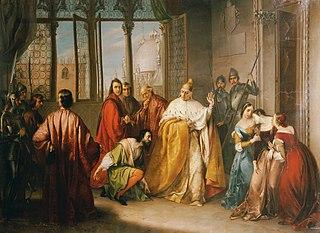 Der Doge Francesco Foscari schickt seinen Sohn Giacomo in die Verbannung (\