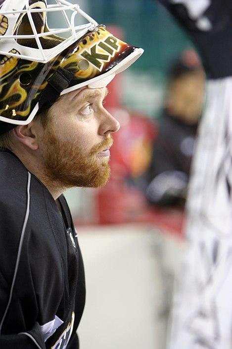 Miikka Kiprusoff with helmet up
