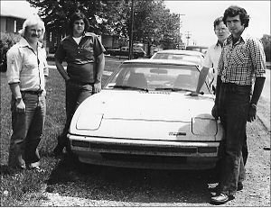 Rod Millen - September 1978: New Zealanders Rod Millen (far R) and mechanic Murray Butt (far L) drove their just-on-the-market Mazda RX7 from California to Ohio to discuss SCCA ProRallying with officials from the Sunriser 400 Forest Rally: clerk of course Jerry Sproat (2nd L) and press officer Tim Shannon (3rd from L) at Shannon's house in Columbus. Millen went on to win the event the next year.