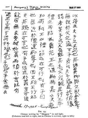 Automatic writing - Image: Mina Crandon automatic writing
