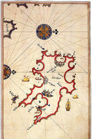 Menorca - Historic map of Minorca by Piri Reis