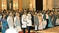 Mohd. Hamid Ansari, the Prime Minister, Shri Narendra Modi, the Union Home Minister, Shri Rajnath Singh and other dignitaries at a Civil Investiture Ceremony, at Rashtrapati Bhavan, in New Delhi on April 08, 2015.jpg