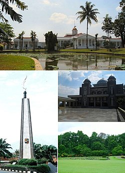 From top, clockwise : Bogor Palace, Great Mosque of Bogor, Bogor Botanical Garden, Kujang Monument