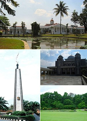 From top, clockwise : Bogor Palace, Geat Mosque of Bogor, Bogor Botanical Garden, Kujang Monument