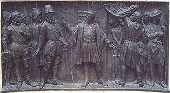 El alcalde de Zalamea. Relieve en bronce, detalle del monumento a Calderón de Madrid (J. Figueras, 1878).