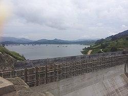 Moragahakanda reservoir at dam construction site.jpg