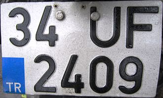 Vehicle registration plates of Turkey - License plate for motorcycles.