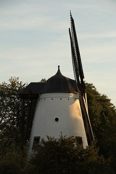 Moulin à vent en briques du Tiège (vu de profil).