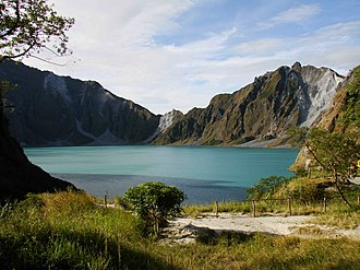 Crater lake - Lake Pinatubo, Philippines, formed after the 1991 eruption of Mount Pinatubo