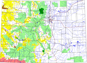 Mount Sneffels Wilderness - Colorado with Mount Sneffels Wilderness in red highlighted