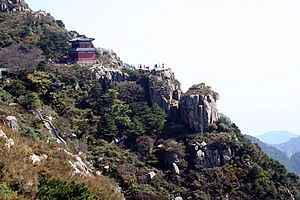 Photograph of the slop of Mount Tai, Shandong ...