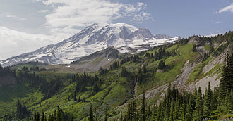 Mount Rainier National Park - View of the south face of Mount Rainier from the Skyline Trail in Paradise