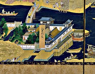 Mukai Shōgen Tadakatsu - The residence of Mukai Shogen in Edo, 17th century screen.
