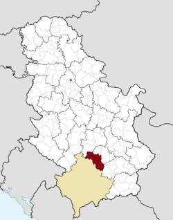 Location of the municipality of Kuršumlija within Serbia