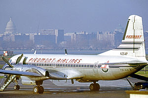 Piedmont Airlines (1948–89) - Piedmont YS-11A at Washington National with the Capitol in the background