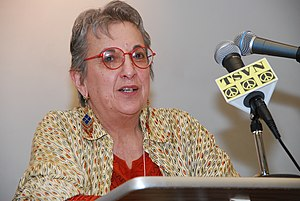 WBAI - Anthropologist and WBAI radio personality Barbara Nimri Aziz at the Left Forum (NYC), Apr 2009