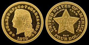 Stella (United States coin) - Image: NNC US 1879 G$4 Stella Pattern (Flowing Hair)