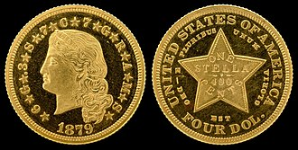 Stella (United States coin) - Image: NNC US 1879 G$4 Stella Pattern (Flowing Hair)