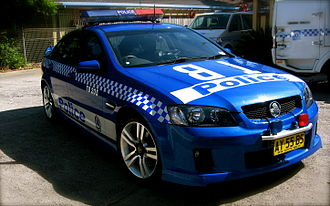 Sillitoe Tartan - New South Wales Police highway patrol vehicle with blue and white chequers