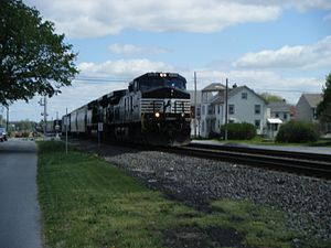 Reading Line - Westbound Norfolk Southern merchandise train on the Reading Line in Lyons, Pennsylvania