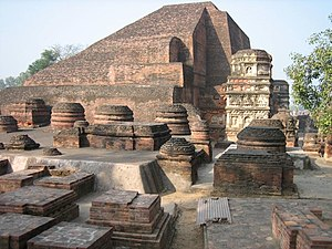 The ruins of Nalanda University in India where...