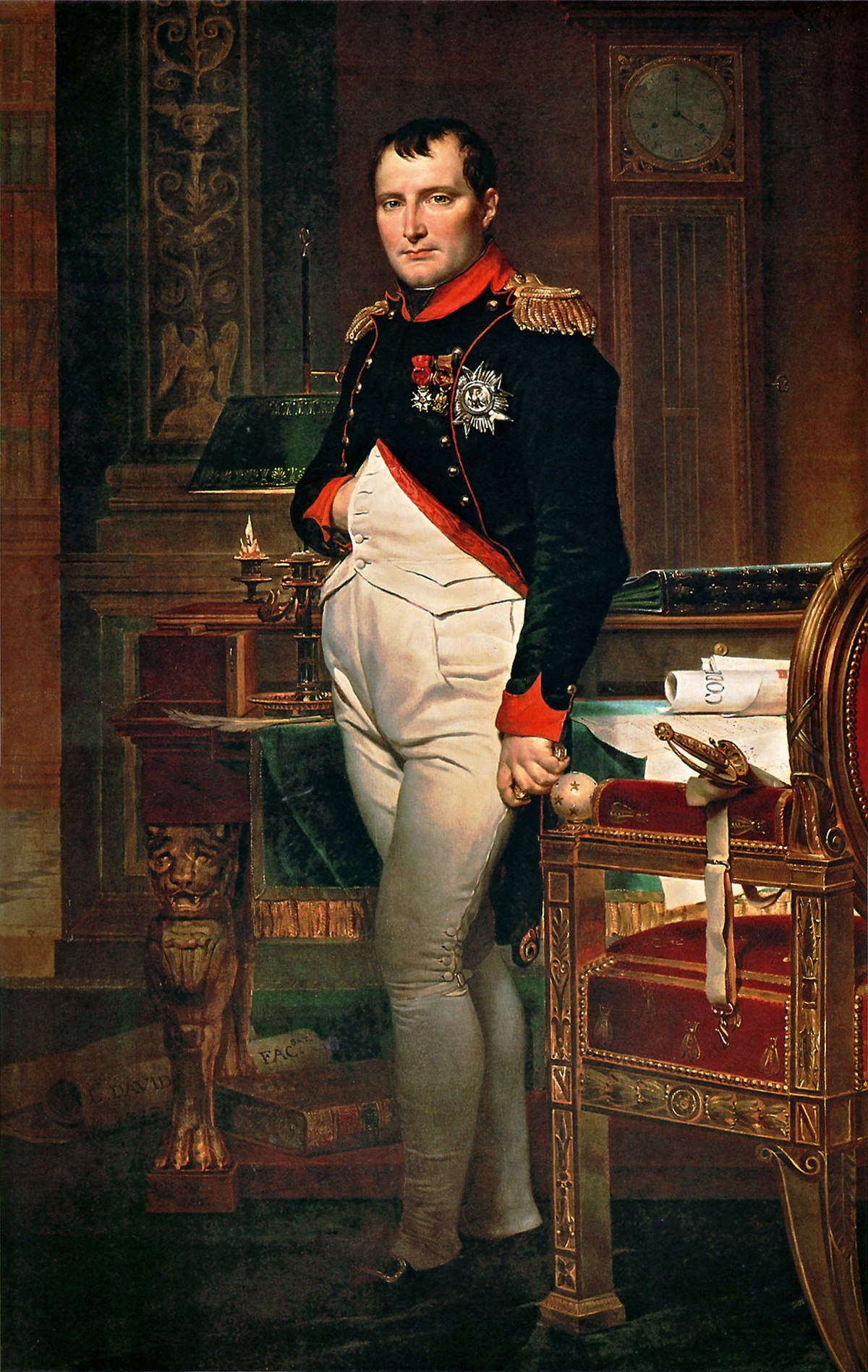 a study of jacques louis david Napoleon bonaparte in his study at the tuileries, 1812 by jacques-louis david neoclassicism portrait private collection.