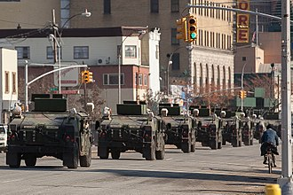 Chief of the National Guard Bureau -  National Guard convoy in Coney Island, New York.