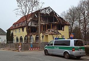 National Socialist Underground - The fire-damaged house used by the Nationalsozialistischer Untergrund in Zwickau