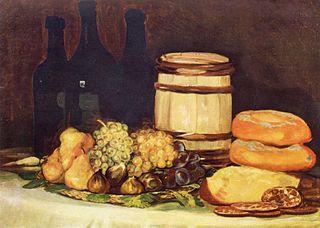 Stilleben mit Früchten, Flaschen, Broten