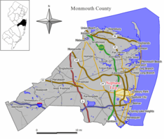 Map of Neptune Township in Monmouth County. Inset: Location of Monmouth County highlighted in the State of New Jersey.