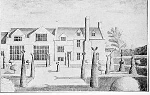 Netherton, Farway - Netherton Hall in the parish of Farway, Devon. 1727 drawing by Edmund Prideaux (1693–1745) of Prideaux Place, Cornwall