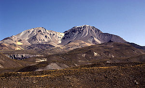 Taapaca - Nevados de Putre, Taapaca volcano (right).