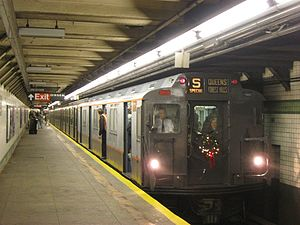 R7/A (New York City Subway car) - R7A 1575 leading a holiday excursion train on the IND Sixth Avenue Line.
