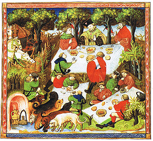 Picnic - A nobleman with his entourage enjoying a picnic. Illustration from a French edition of The Hunting Book of Gaston Phoebus, 15th century