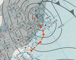 December 1969 nor'easter - Map of the nor'easter on December 27 over eastern New England