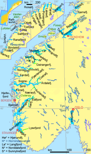 The part of the map showing the northern fjords has a smaller scale.