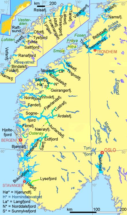 Karte Südnorwegen.Liste Von Fjorden Wikipedia