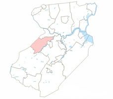 North Brunswick Township highlighted in Middlesex County. Inset: Location of Middlesex County highlighted in the State of New Jersey.