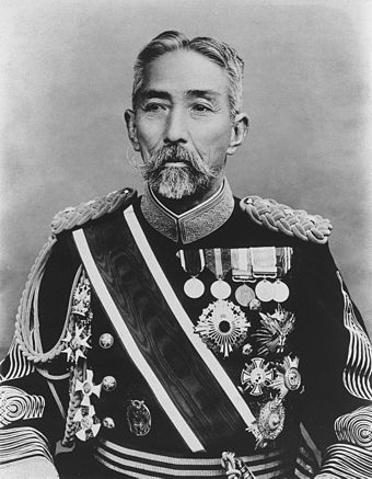 Marquis Nozu Michitsura, a field marshal in the early Imperial Japanese Army. He was appointed as chief of staff of the Imperial Guards Brigade in 1874. Nozu Michitsura.jpg