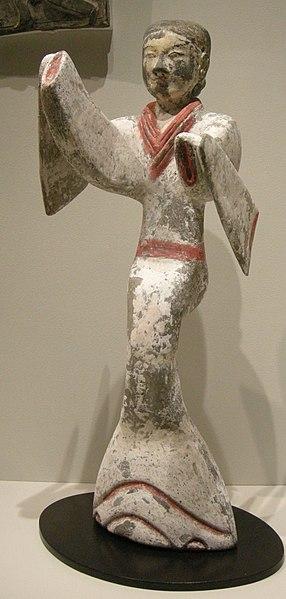 File:Nswag, dinastia han, figurina dipinta di danzatrice.jpg