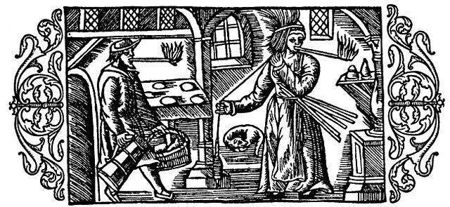 Ein Mann und eine Frau tragen Kienspäne im Mund. Aus der Historia de gentibus septentrionalibus (1555) von Olaus Magnus (1490-1557).