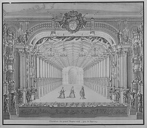 """Francesco Maria Veracini - Opera house """"am Zwinger"""" in Dresden, designed by Matthäus Daniel Pöppelmann; interior decorations by Alessandro und Giramolo Mauro. For the wedding of the crown prince in September 1719  three operas composed by Lotti were performed within two weeks. Highlight was Teofane; all the guests had to appear """"alla Turca"""" (Byram-Wigfield 2013). Drawing by Carl Heinrich Jacob Fehling (1719)"""