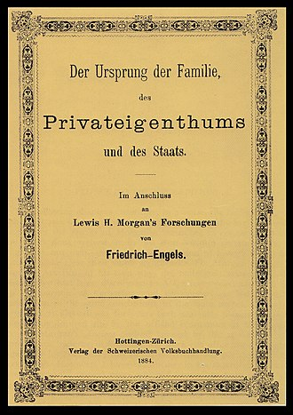 Friedrich Engels - Cover of the first edition of Engels's The Origin of the Family, Private Property and the State, first published in 1884