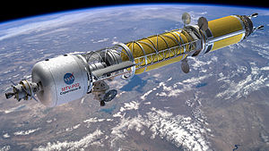 Rendering artistico del Bimodal Nuclear Thermal Rocket parte del Mars Transfer Vehicle (MTV), che verrà assemblato in orbita da 2 carichi cargo dell'SLS Block 2.