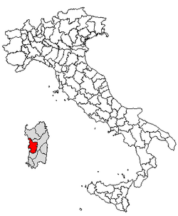 Location of Province of Oristano